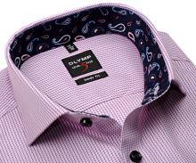 Koszula Olymp Level Five – różowa w niebieskie paski z wewnętrzną stójką i mankietem