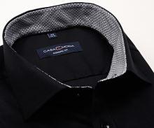 Koszula Casa Moda Modern Fit – czarna z czarno-szarą stójką wewnętrzną i mankietem