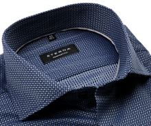 Koszula Eterna Comfort Fit - luksusowa z wyszytym niebieskim wzorem