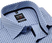Koszula Olymp Level Five – jasnoniebieska w jaśniejszą siateczką i z ciemnoniebieskim wzorem - extra długi rękaw