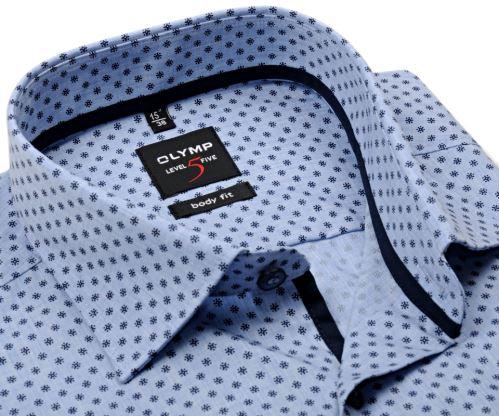 Koszula Olymp Level Five – jasnoniebieska w jaśniejszą siateczką i z ciemnoniebieskim wzorem