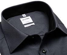 Koszula Olymp Comfort Fit – czarno-biała z wplecionym wzorem - extra długi rękaw