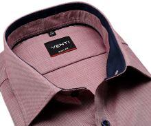 Koszula Venti Body Fit - czerwono-niebieska z ciemnoniebieską wewnętrzną stójką i mankietem