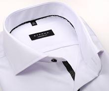 Koszula Eterna Comfort Fit Twill Cover - biała luksusowa i nieprześwitująca z czarno-szarą plisą