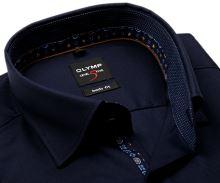 Koszula Olymp Level Five – luksusowa ciemnoniebieska z diagonalną strukturą i wewnętrzną stójką