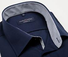 Koszula Casa Moda Comfort Fit – ciemnoniebieska z niebiesko-siwą stójką wewnętrzną i mankietem