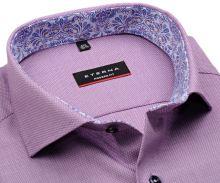 Koszula Eterna Modern Fit – fioletowa o delikatnej strukturze z wewnętrzną stójką - extra długi rękaw