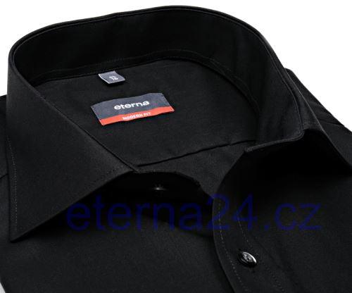 Koszula Eterna Modern Fit - czarna - krótki rękaw