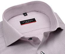 Koszula Eterna Modern Fit – luksusowa z róźowo-szarym geometrycznym wzorem