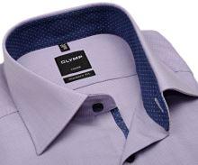 Koszula Olymp Modern Fit – fioletowa z granatową wewnętrzną stójką i mankietem