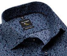 Koszula Olymp Super Slim - designerska ciemnoniebieska z napisem