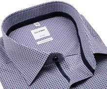 Koszula Olymp Comfort Fit – z czerwono-niebieskim wzorem, wewnętrzną stójką i mankietem