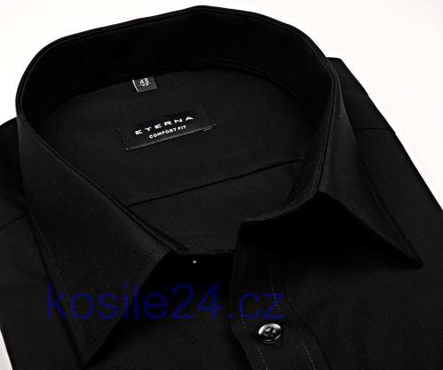 Koszula Eterna Comfort Fit - czarna - krótki rękaw