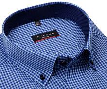 Koszula Eterna Modern Fit – w niebieską kratkę z wewnętrznym kołnierzykiem - krótki rękaw