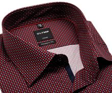 Koszula Olymp Modern Fit – czerwono-niebieska z wzorem, ciemnoniebieską wewnętrzną plisą i mankietem