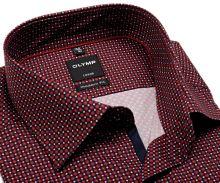 Koszula Olymp Modern Ft – czerwono-niebieska z wzorem i ciemnoniebieską wewnętrzną plisą - krótki rękaw