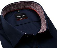 Koszula Venti Body Fit – ciemnoniebieska z czerwono-niebieską wewnętrzną stójką i mankietami