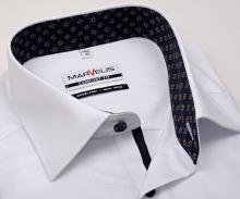 Koszula Marvelis Comfort Fit – biała z wyszytym wzorom i wewnętrzną stójką