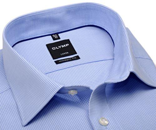 Koszula Olymp Luxor Modern Fit – w jasnoniebieską krateczkę z kołnierzykiem i mankietami