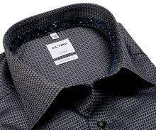 Koszula Olymp Comfort Fit – szara z wyszytym wzorem i wewnętrzną stójką - extra długi rękaw