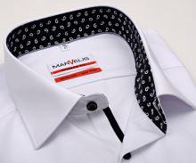 Koszula Marvelis Modern Fit – biała z czarno-białą wewnętrzną stójką - extra długi rękaw
