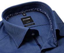 Koszula Olymp Modern Fit – ciemnoniebieska z delikatną strukturą i wewnętrzną stójką - krótki rękaw