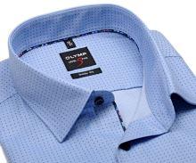 Koszula Olymp Level Five – jasnoniebieska w ciemnoniebieskie drobne kropki - extra długi rękaw