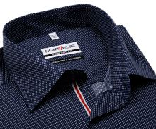 Koszula Marvelis Comfort Fit – ciemnoniebieska w kropki z czerwono-białą plisą wewnętrzną
