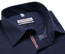 Koszula Marvelis Comfort Fit – ciemnoniebieska w kropki z czerwono-niebieską plisą wewnętrzną - krótki rękaw