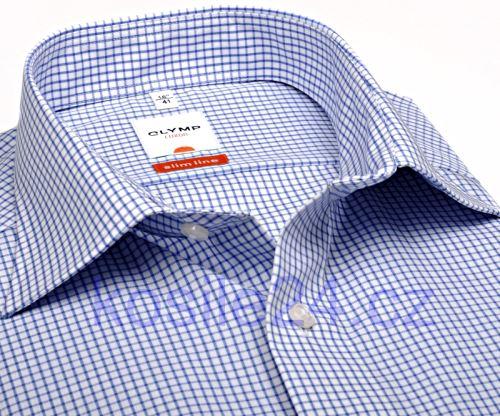 Koszula Olymp Luxor Comfort Fit - w niebieską kratkę - krótki rękaw