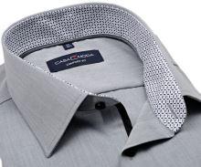 Koszula Casa Moda Comfort Fit – szara z czarno-szarą stójką wewnętrzną i mankietem