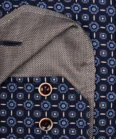 Koszula Venti Modern Fit – ciemnoniebieska w niebiesko-brązowy wzór z wewnętrzną stójką - extra długi rękaw