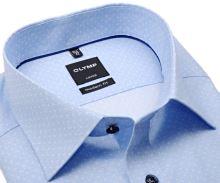 Koszula Olymp Modern Fit – jasnoniebieska w białe kropki i delikatną siateczkę - extra długi rękaw