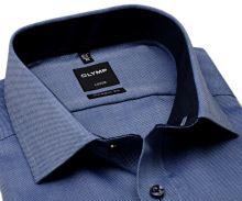 Koszula Olymp Modern Fit Natté – ciemnoniebieska z delikatną strukturą - krótki rękaw