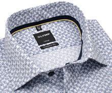 Koszula Olymp Modern Fit – biała z ciemnoniebieskim okrągłym wzorem - krótki rękaw