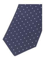 Krawat slim Olymp – ciemnoniebieski z tkanymi białymi kropeczkami