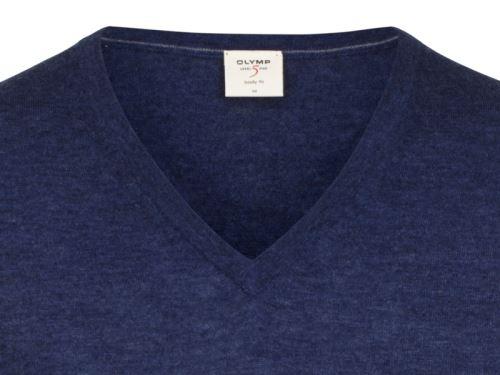 Sweter Olymp Level Five z wełny merino z domieszką jedwabiu - niebieski - dekolt w serek