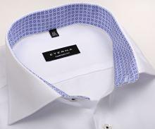 Koszula Eterna Comfort Fit – biała o delikatnej strukturze, z niebiesko-białą wewnętrzną stójką - krótki rękaw