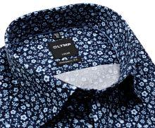 Koszula Olymp Modern Fit – luksusowa ciemnoniebieska w jasnoniebieski kwiatowy wzór