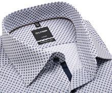 Koszula Olymp Modern Fit – biała z ciemnoniebieskim wzorem i wewnętrznym mankietem - extra długi rękaw