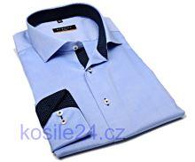 Koszula Eterna Slim Fit Fine Oxford – jasnoniebieska z granatowym kołnierzykiem wewnętrznym, mankietami i plisą