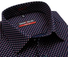 Koszula Marvelis Body Fit – ciemnoniebieska z czerwono-białym geometrycznym wzorem - krótki rękaw