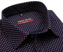 Koszula Marvelis Body Fit – ciemnoniebieska z czerwono-białym geometrycznym wzorem