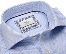 Koszula Eterna Slim Fit 1863 Super Soft Two Ply - luksusowa w jasnoniebieskie prążki