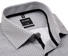 Koszula Olymp Modern Fit – ekskluzywna z czarno-szarym wzorem, wewnętrzną plisą i mankietem