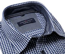 Casa Moda Comfort Fit  – koszula w ciemnoniebieską kratę z wewnętrzną stójką - krótki rękaw