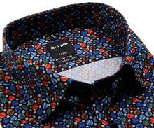 Koszula Olymp Modern Fit – designerska ciemnoniebieska w różnokolorowe koła - extra długi rękaw