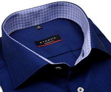 Koszula Eterna Modern Fit – ciemnoniebieska o delikatnej strukturze z wewnętrzną stójką