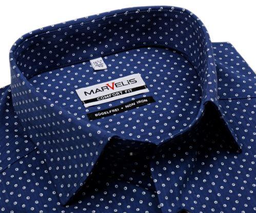 Koszula Marvelis Comfort Fit - ciemnoniebieska koszula w białe kółka - krótki rękaw