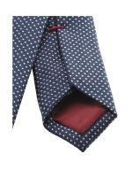 Krawat super slim Olymp – ciemnoniebieski z białym tkanym wzorem